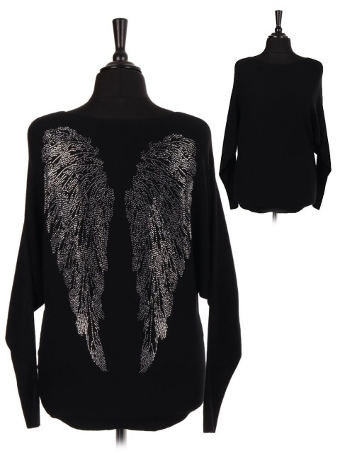 Italian Diamante Embellished Angel Wing Back Batwing Jumper