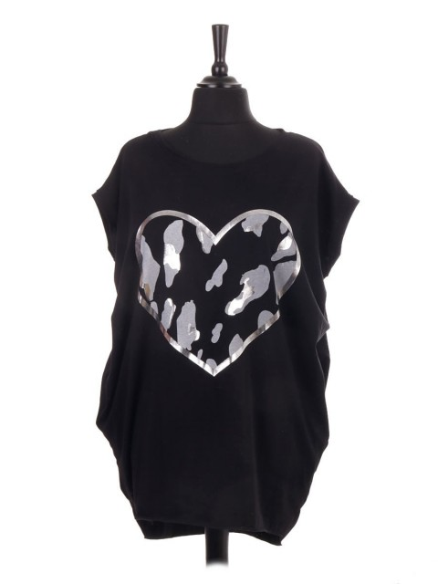 Italian Sleeveless Animal Print Heart Dip Hem Top With Side Pockets