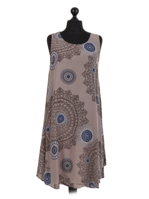 Italian Aztec Print Sleeveless Swing Dress