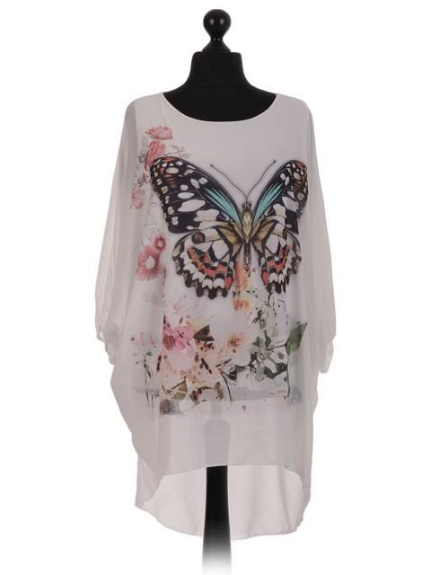 Buttefly Batwing Chiffon Tunic Dress