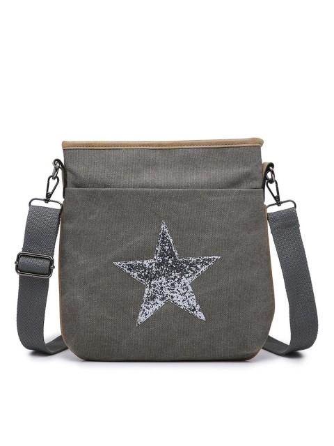 Canvas Glossy Star Cross Body Bag