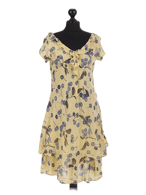 Italian cherry Printed Layerd Frilled Dress