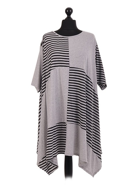 Cotton Striped Panel Handkerchief Hem Tunic