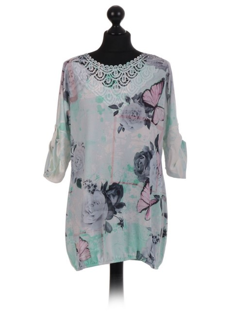 Floral Lace Neckline Top