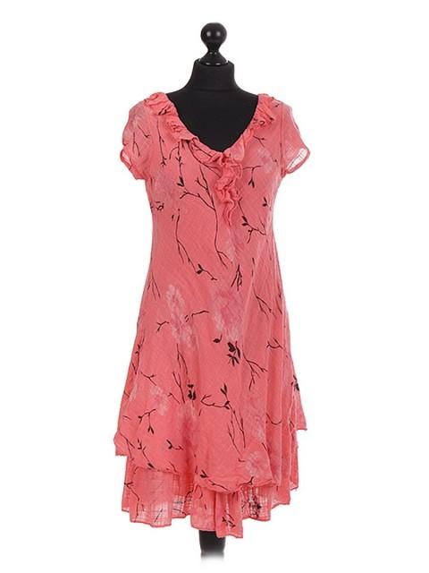 Floral Printed Bias Layerd Frilled Dress