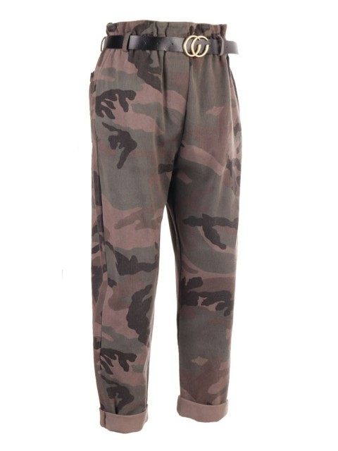High Waist Camouflage Print Ribbed Italian Trouser With Belt