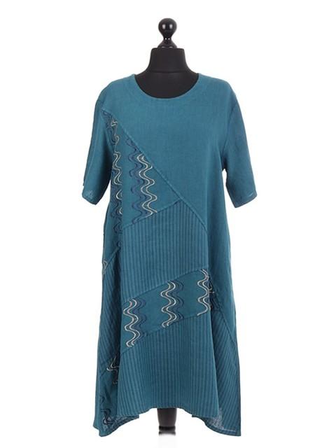 Italian Linen Embroidery Stripe Panel Dress