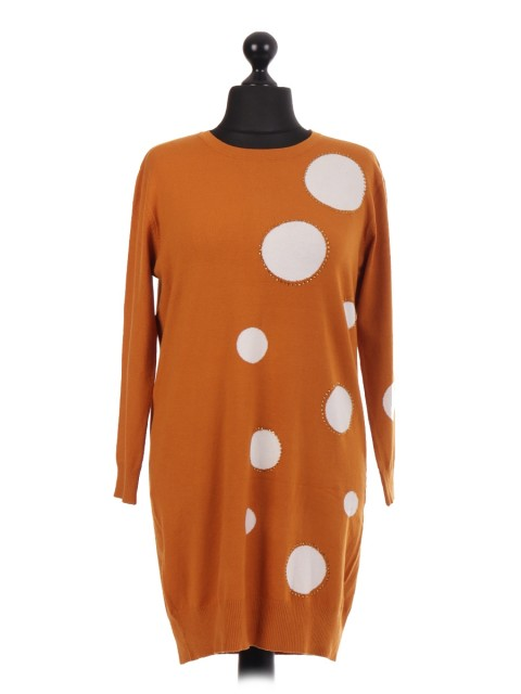 Italian Knitted Macchia Spot Jumper Dress