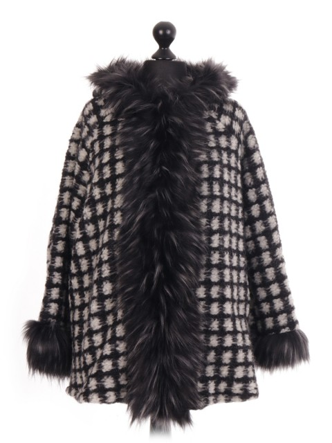 Italian  Check Faux Fur Trim Jacket