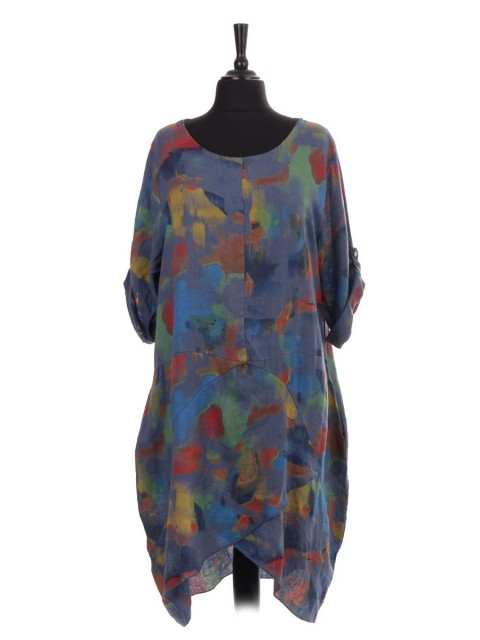 Italian Abstract Print Wrap Over Hem Linen Lagenlook Dress With Side Pockets
