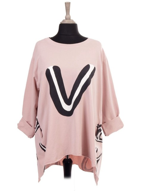 Italian Alphabet Print Tunic Top With Front Pockets