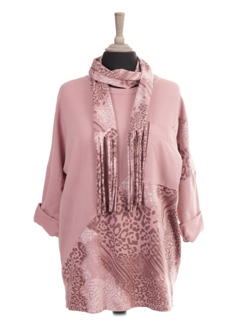 Italian Animal Print Patch Batwing Top With Front Pocket And Scarf