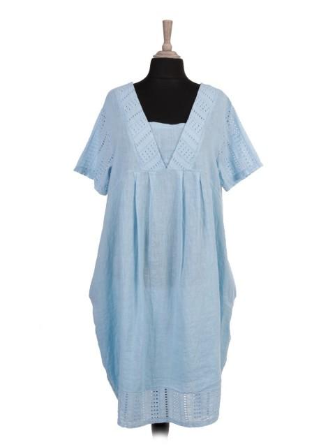 Italian Broderie Patch Linen Lagenlook Dress
