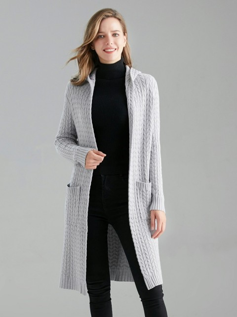 Italian Cable Knitted Hooded Cardigan