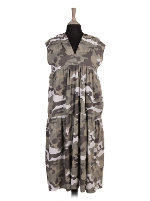 Italian Camouflage Print Hooded Tiered Dress