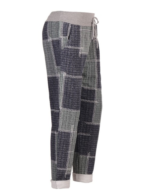 Italian Check Print Cotton Trousers With Side Pockets