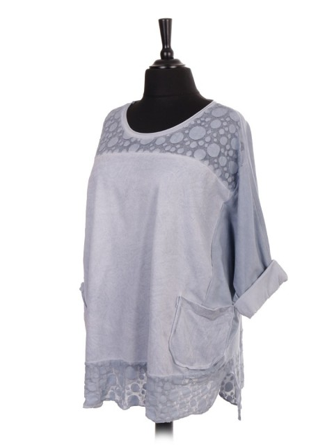 Italian Cold Dye Lace Panel Batwing Top With Front Pockets