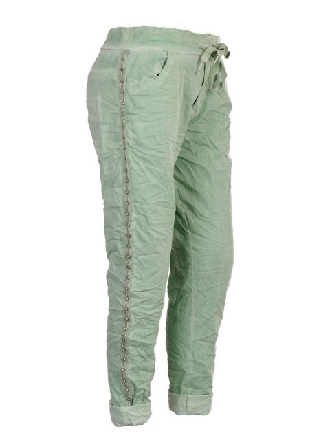 Italian Cold Dye Side Diamante Panel Elasticated Joggers