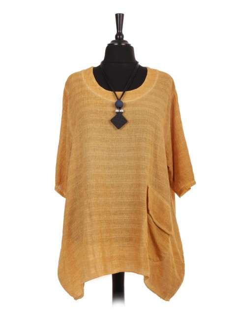Italian Cold Dye Top With Front Flap Over Pocket And Necklace