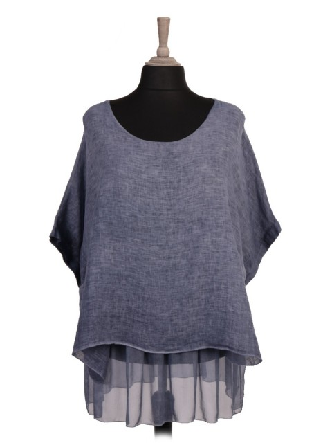 Italian Cold Dye Two Layered Linen Batwing Top