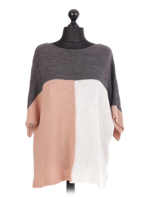 Contrast Panel Knitted Batwing Jumper