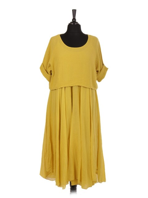 Italian Cotton 2 Piece Flare Maxi Dress with Shrug Top
