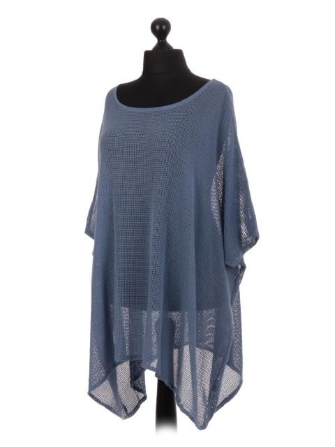 Italian Cotton Mesh Net Batwing Top