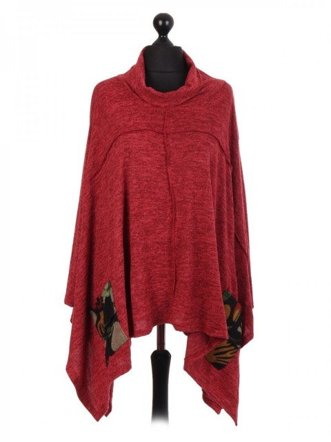 Italian Cowl Neck Batwing Top With Pockets