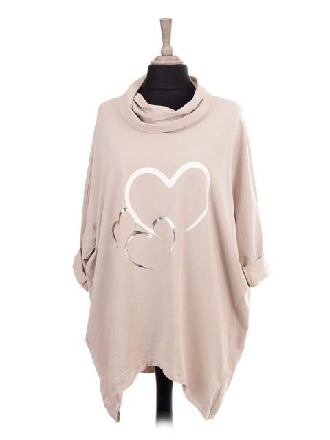 Italian Cowl Neck Heart Print Dip Hem Top