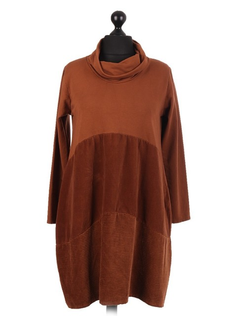 Italian Cowl Neck Lagenlook Dress With Velour Panel