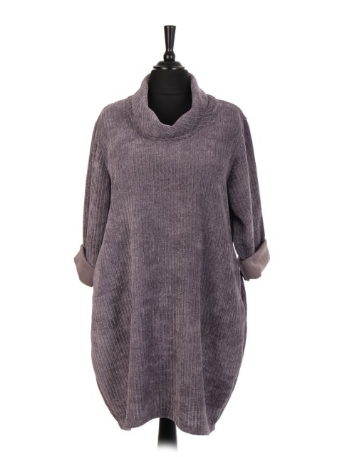 Italian Cowl Neck Velour Lagenlook Dress With Side Pockets