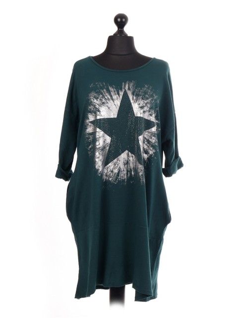Italian Diamante Star Print Lagenlook Dress