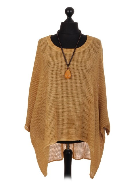 Italian Dip Hem Batwing Necklace Top