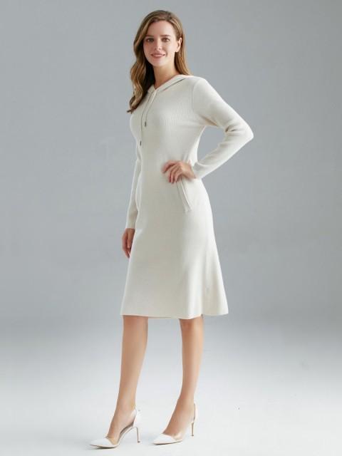 Italian Drawstring Hooded Knitted Maxi Dress