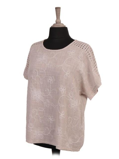 Italian Embroidered Crochet Shoulder Crop Batwing Top