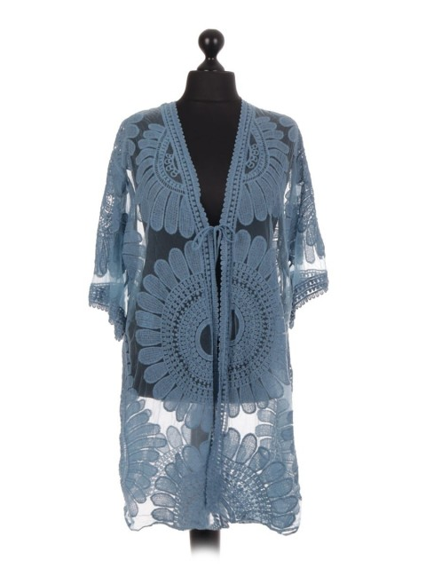 Italian Embroidered Net Cardigan