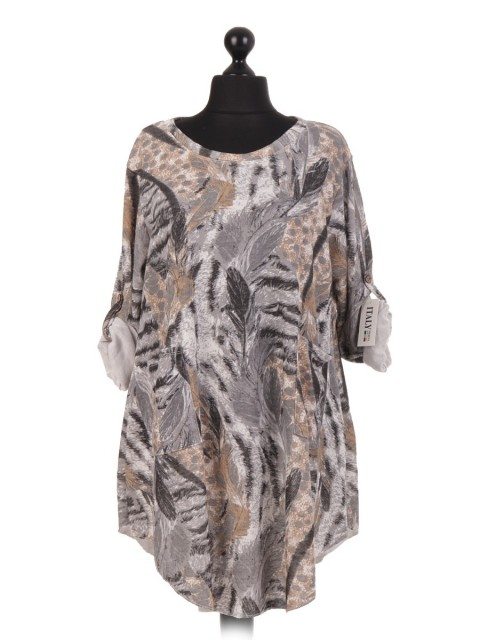 Italian Feather Print Over Sized Dress