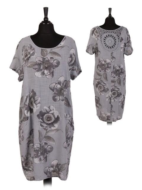 Italian Floral Lagenlook Dress With Crochet Back Neckline