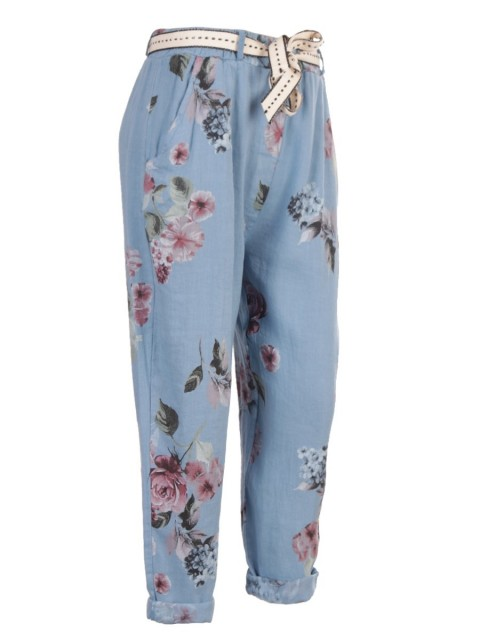 Italian Floral Print Belted Linen Trouser