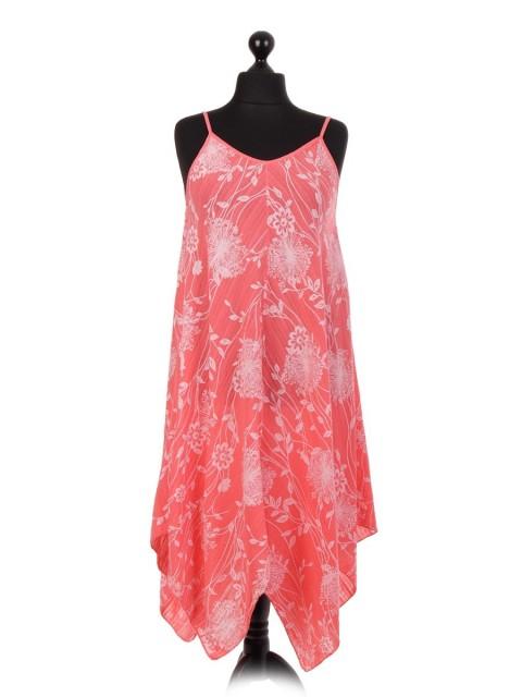 Italian Floral Printed Handkerchief Hem Dress
