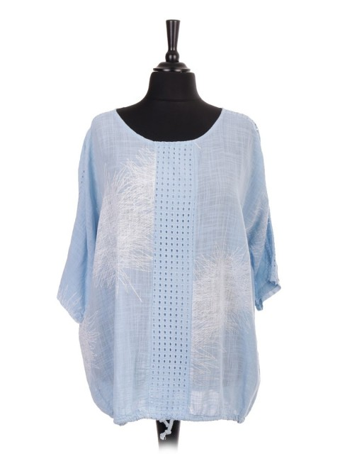 Italian Front And Shoulder Lace Panel Gathered Hem Printed Top