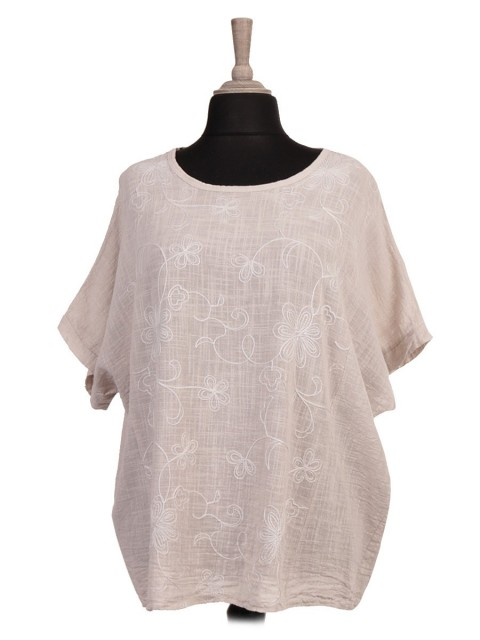 Italian Front Embroidered Panel Batwing Top