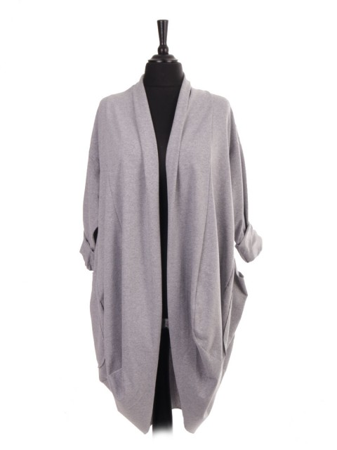 Italian Front Open Waterfall Cardigan With Front Pockets