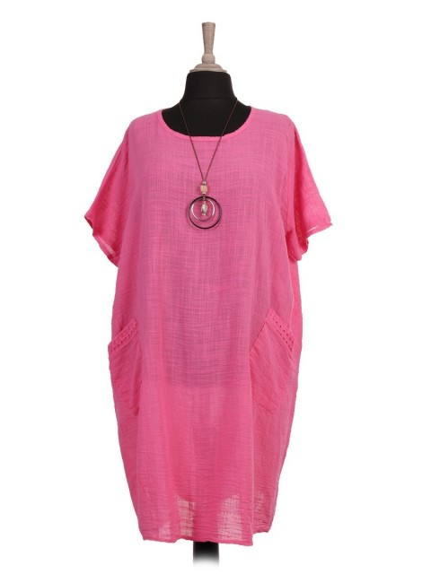Italian Front Pockets Lagenlook Dress With Necklace