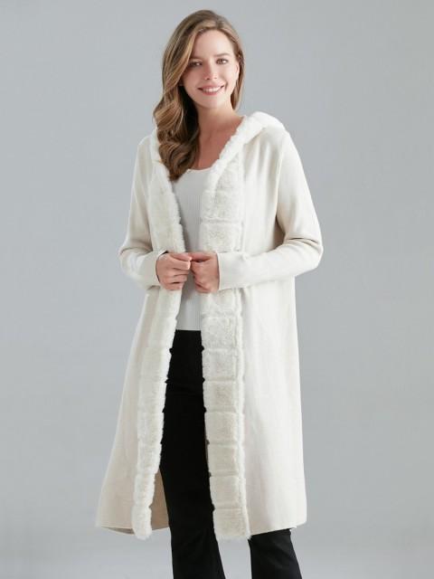 Italian Fur Detail Hooded Knitted Jacket