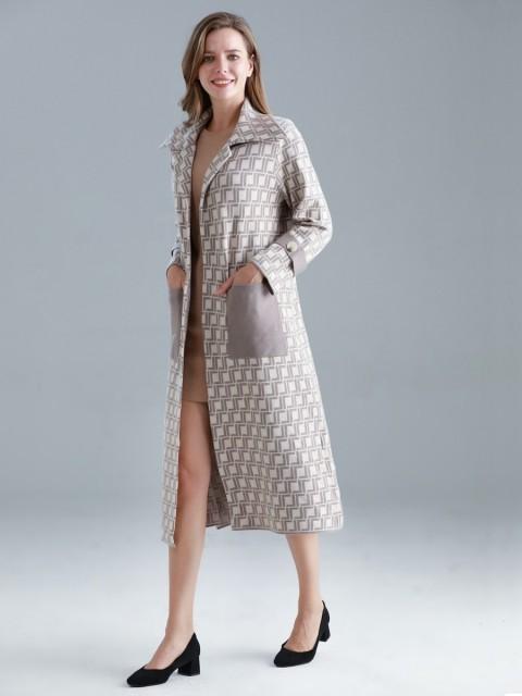 Italian Geometric Pattern Front Pockets Knitted Jacket
