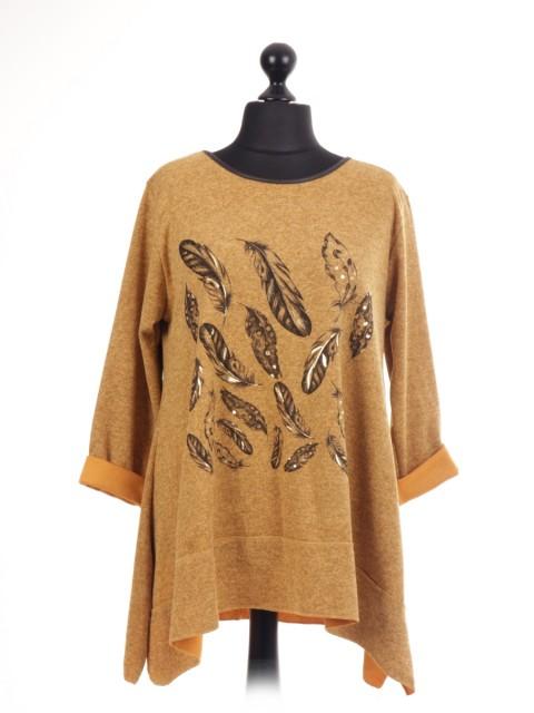 Italian Glossy Leaf Print Tunic Top
