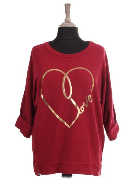 Italian Glossy Love Heart Top With Side Zip Detail