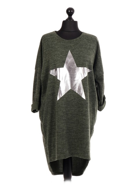Italian Foil Star Print Lagenlook Dress