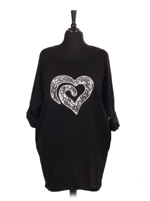Italian Heart Sequin Dip Hem Batwing Top With Side Pockets